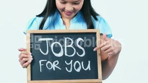 Asian businesswoman showing jobs for you sign