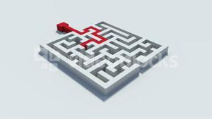 Red line solving a maze puzzle