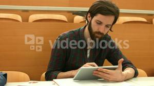 Student using his tablet pc