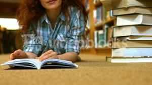 Student reading a library book
