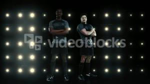 Rugby players posing to the camera