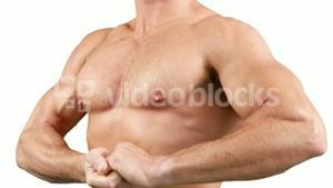 Muscular man flexing his muscle