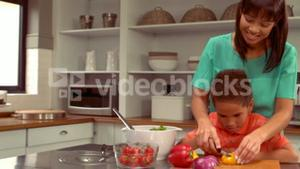 Smiling Hispanic mother is cooking with her son