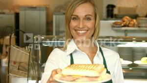 Deli worker offering a panini