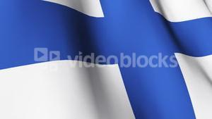 Isolated Blowing Flag of Finland