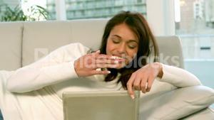 Woman using video chat on tablet
