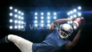 American football player against flashing lights