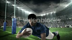 Serious rugby player scoring a try