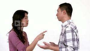 Angry young couple having a dispute