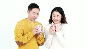 Happy couple having coffee together