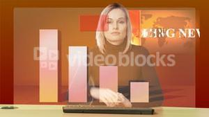 Animation of blond woman presenting graphs