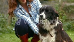 Young woman petting a dog