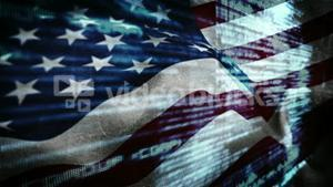 American flag blowing with digital matrix