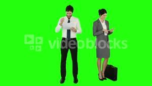 Business people on phone and reading documents