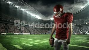 American football player looking down