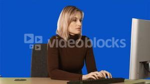 Blue Screen of a woman at computer