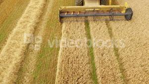 Drone footage of combine harvester