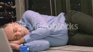 Technician napping in server room