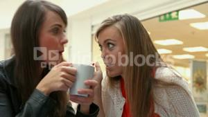 Happy friends having coffee together and gossiping