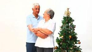 Elderly couple during Christmas day