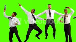 Series of jumping businessman in slow motion