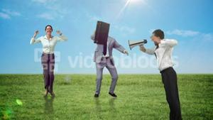 Series of jumping business people in slow motion