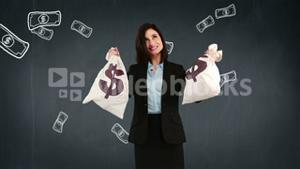 Composite video of businesswoman holding money bags