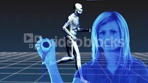 Woman doctor takes the time during a human body is running