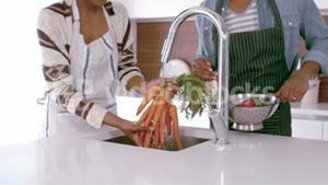 Couple with apron washing vegetables
