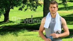 Handsome man after exercise