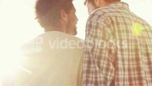 Rear view of homosexual couple outdoor