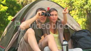 Couple camping in the country side