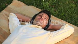 Man listening to music outdoors