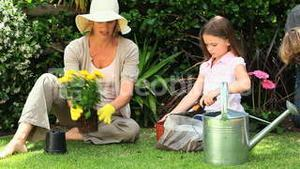 Whole family doing some gardening