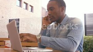 Handsome man using laptop and having phone call