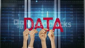 Hands holding up data