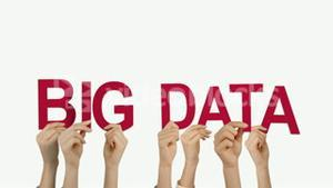 Hands holding up big data