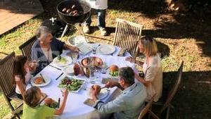 Family barbecue in the garden