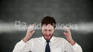 Unhappy stressed businessman with hot head