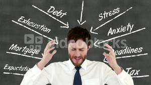 Stressed businessman with hands on head