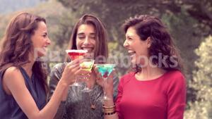 Attractive women having a drink together