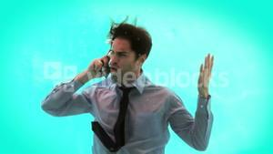 Angry man having a phone call underwater