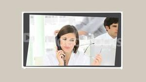 Montage of business people talking on the phone
