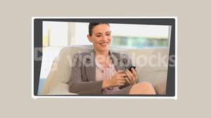 Montage of business people having phone conversation