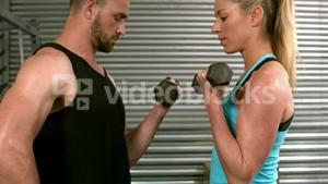 Fit people lifting dumbbells face to face
