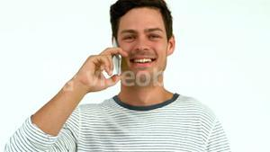 Handsome man on phone call