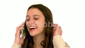 Smiling woman on phone call