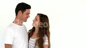 Smiling couple standing