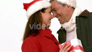 Happy couple nose-to-nose holding christmas gift