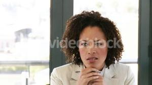 Woman in business talking about business affairs